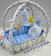 """Детский игровой развивающий коврик - Кокон гнездышко для новорожденного 2 в 1 Premium """" Небо """""""
