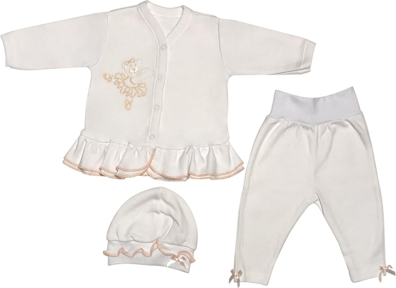 Костюм на девочку рост 68 3-6 мес для новорожденных малышей комплект нарядный трикотажный хлопок белый