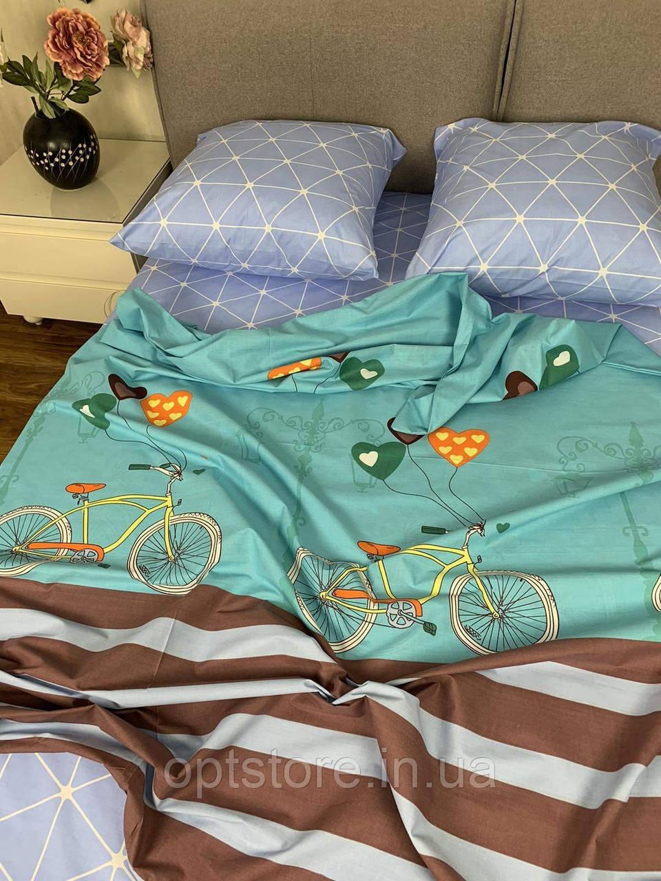 """""""велосипед"""" комплект постільної білизни полуторний 150/210 см, тканина бязь Gold Lux 100% бавовна"""