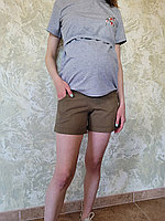 Шорты котоновые для беременных 3030 коричневые