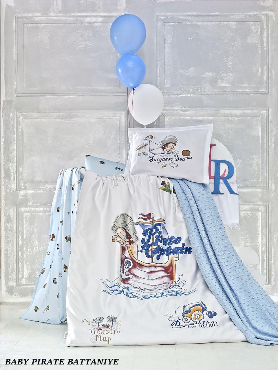"""Дитяче постільна білизна в ліжечко c плетеним пледом La Romano """"Baby Pirate Battaniye"""" 005 Блакитний"""