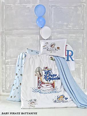 """Дитяче постільна білизна в ліжечко c плетеним пледом La Romano """"Baby Pirate Battaniye"""" 005 Блакитний, фото 2"""