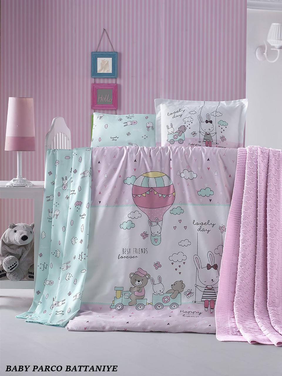 """Детское постельное белье в кроватку c вязаным пледом La Romano """"Baby Parco Battaniye"""" 008 Розовый"""