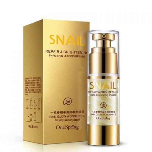 Крем для шкіри навколо очей з муцином равлики зволоження і ліфтинг One Spring Snail Repair & Brightening, 35г