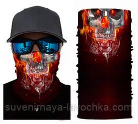 Мото баф Fire Skull. Якісна маска на обличчя