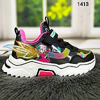 Детские кроссовки для девочки черные лаковые с феями на объемной подошве Angel