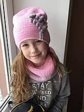Демисезонный детский вязаный набор шапочка и снуд ручной работы для девочки.