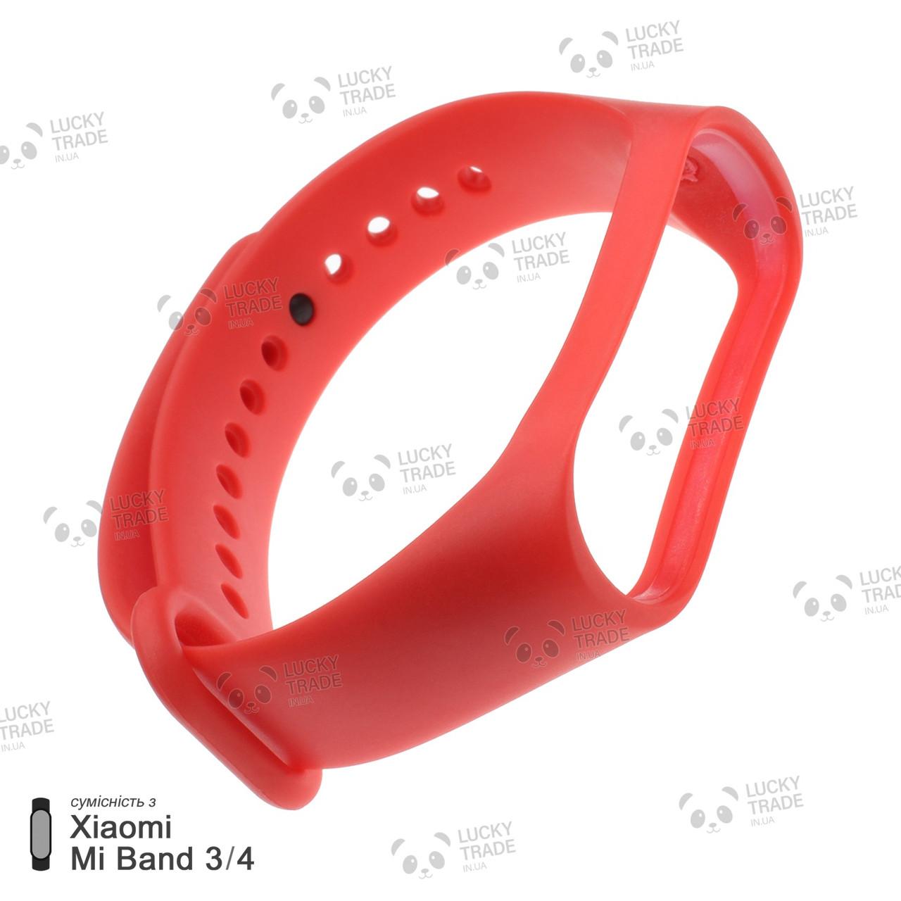 Ремешок Xiaomi Mi Band 4 / 3 силиконовый однотонный браслет для фитнес-трекера Красный [1706]