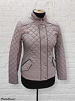 Жіноча демісезонна коротка куртка-жакет Solo SV-6, пудра
