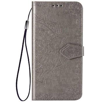 Кожаный чехол (книжка) Art Case с визитницей для ZTE Blade A7 Fingerprint Серый