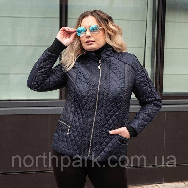 Демісезонна коротка куртка-жакет великих розмірів ArDi, темно-синій