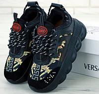 Женские кроссовки Versace Chain Reaction черные с золотом демисезонные весна-осень. Живое фото. Реплика