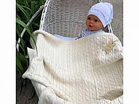 Детский вязанный утепленный плед для новорожденных на махре 95*85 см