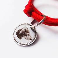 Адресник з нержавійки American Style діаметр 35мм гравірування по фото кулон для собак жетон
