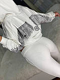 Женский трикотажный белый спортивный костюм (Турция); С,М,Л,ХЛ полномерные, фото 2