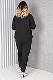 Жіночий чорний трикотажний спортивний костюм великого розміру; ХХЛ(54-56) 3ХЛ(56-58) 4ХЛ(58-60), фото 3