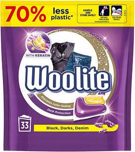 Woolite Dark Denim Black лучшее средство для стирки денима, темных и черных вещей с керамидами, 33 капсулы