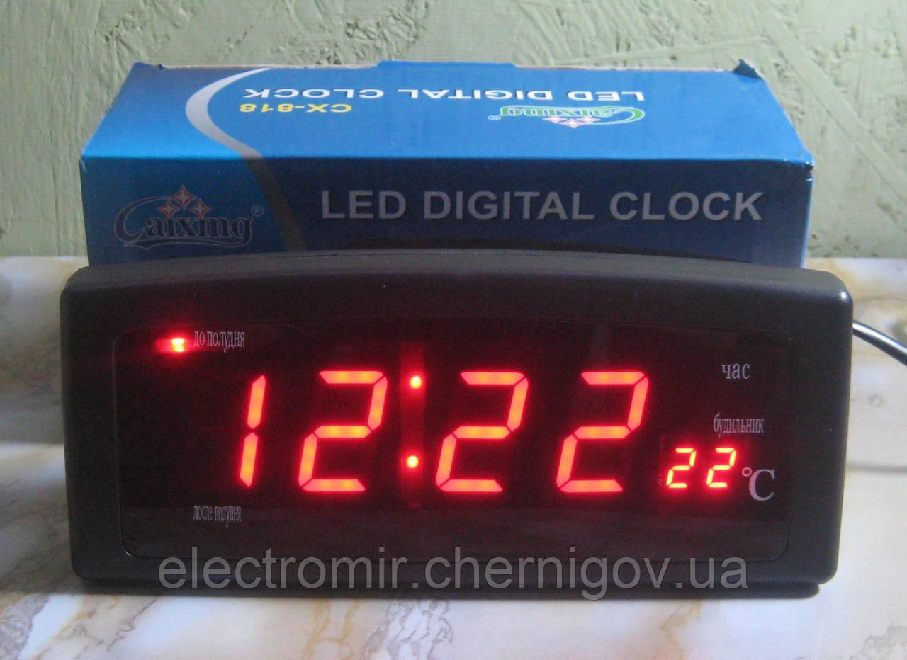 Часы настольные электронные Caixing CX-818 (черные, красные цифры)