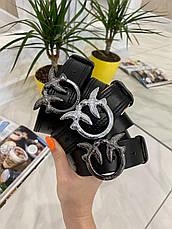 Кожаный ремень Пинко 3,3 см черный РПИН2, фото 3