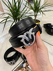 Кожаный ремень Пинко 3,3 см черный РПИН2, фото 2
