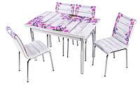 """Комплект обеденной мебели """"Lavanta"""" (стол ДСП, каленное стекло + 4 стула) Mobilgen, Турция"""