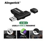 USB OTG флешка Kingstick 128 Gb type-c - USB A Цвет Чёрный для телефона и компьютера, фото 2