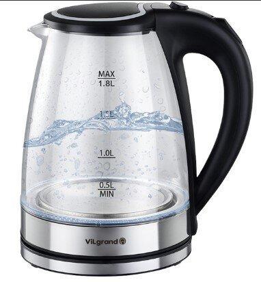 Чайник VILGRAND VL1188GK black (стекло) Бренды Европы