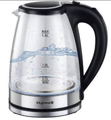 Чайник VILGRAND VL1188GK black (стекло) Бренды Европы, фото 2