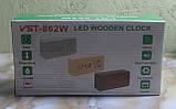 Часы в виде бруска дерева VST-862W (коричневые, красная подсветка), фото 3