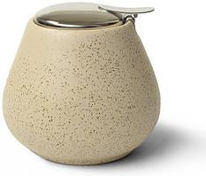 Цукорниця керамічна Fissman ProfiTea 600мл з відкидною кришкою, беж пісок