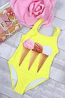 Купальник дитячий відрядний #BH980 Розміри 4-10 років Жовтий