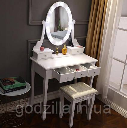 Туалетный стол Clara с зеркалом и табуретом + LED подсветка