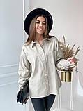 Женская рубашка из плотной ткани 3 цвета! 13-381, фото 8