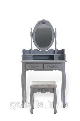 Туалетный столик Mira с наклонным зеркалом серебряная