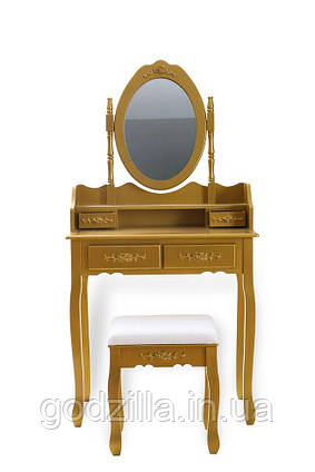 Туалетный столик Mirа 75 см с наклонным зеркалом золотая