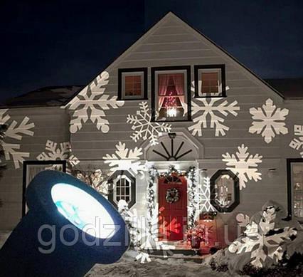 LED проектор Белые снежинки