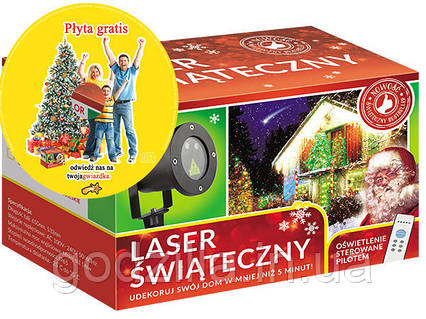 Лазерный проектор RG 8в1 Елки, снежинки. Два цвета + пульт + диск (RG2210)