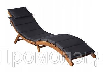 Лежак Эрго деревянный из дерева Акации с Матрасом темно-серый