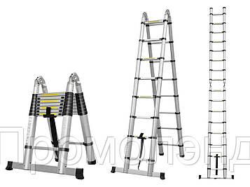 Лестница телескопическая алюминий 5 м + стабилизатор