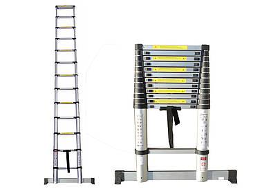 Лестница телескопическая алюминий 3.8 м + стабилизатор