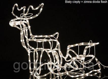 """Новогодняя скульптура """"Олень с санями"""" Длина набора 140 см 3 цвета"""