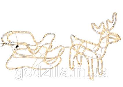 """Новогодняя скульптура """"Олень с санями"""" Длина набора 130 см 3 цвета"""
