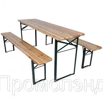 Дерев'яний пивний стіл з лавками 177 х 46 см