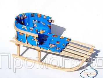 Санки деревянные WOOD со спинкой и синим матрасиком