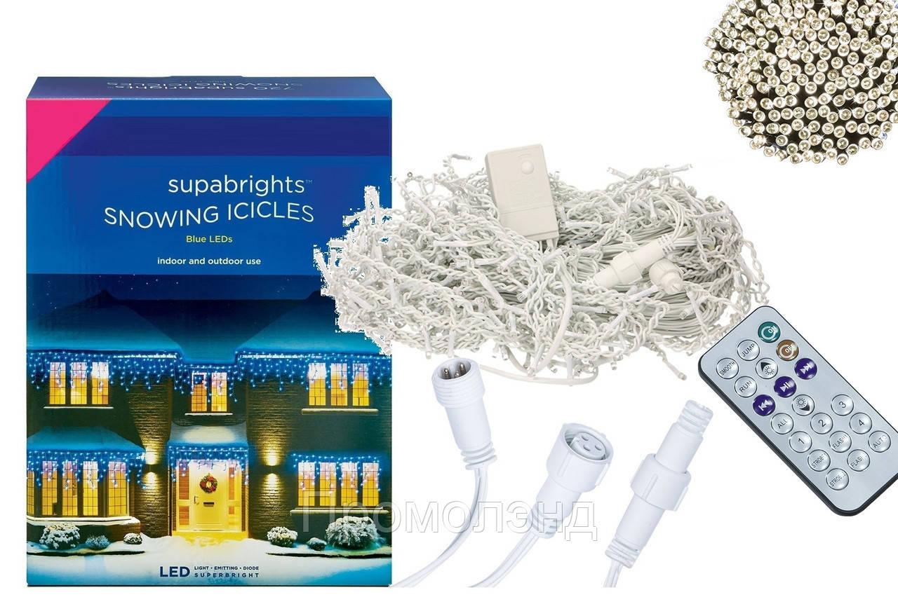 Новорічна гірлянда Бахрома 300 LED, Білий теплий світ 12 м + Пульт