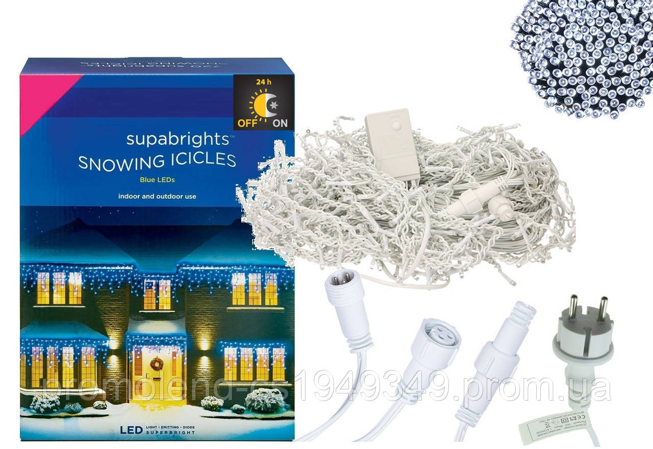 Новорічна гірлянда Бахрома 500 LED, Білий холодний світ 22,5 W, 24 м + Нічний датчик