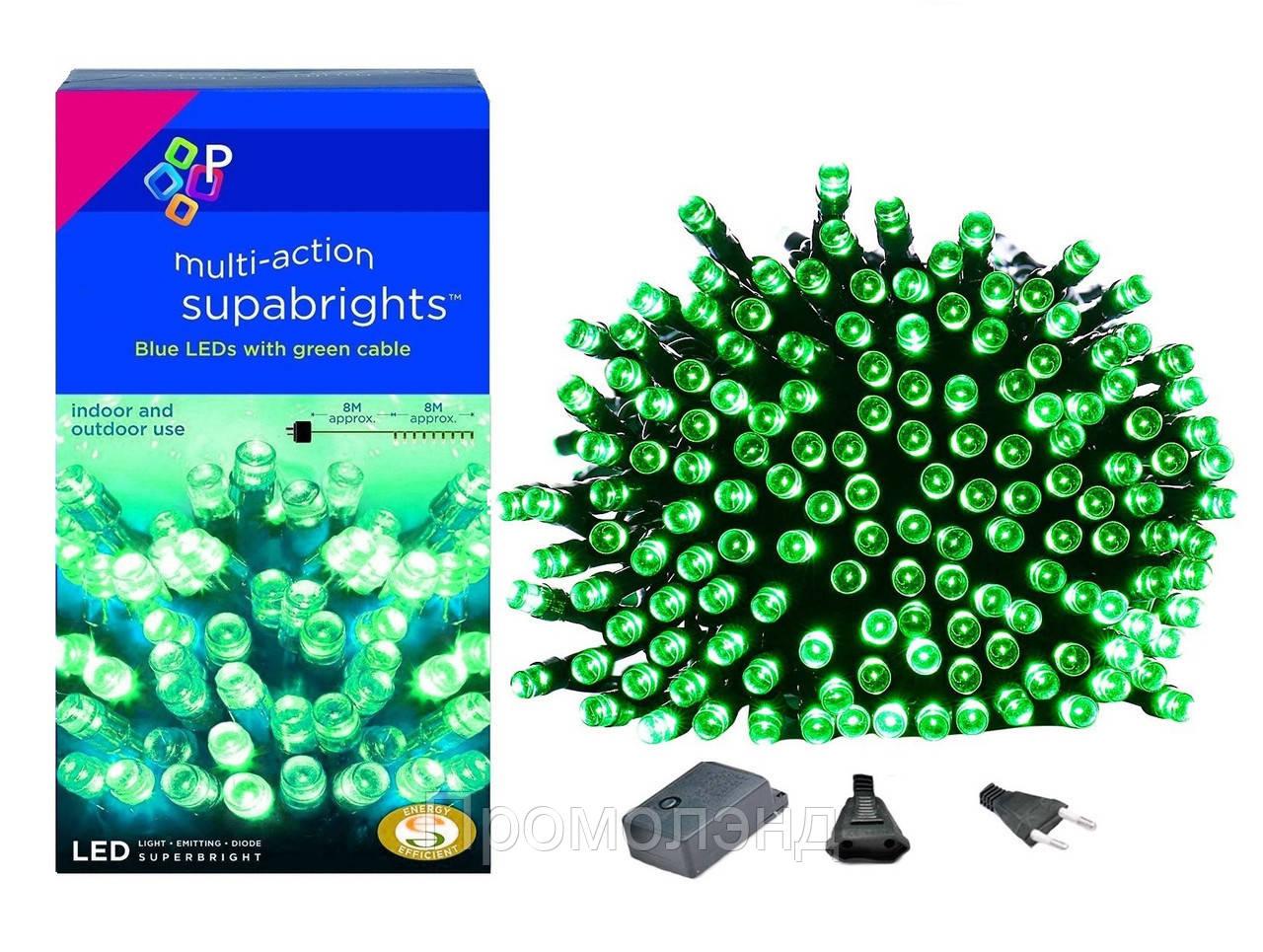 Новорічна гірлянда 300 LED, IP44, Довжина 24 М, Зелений світло