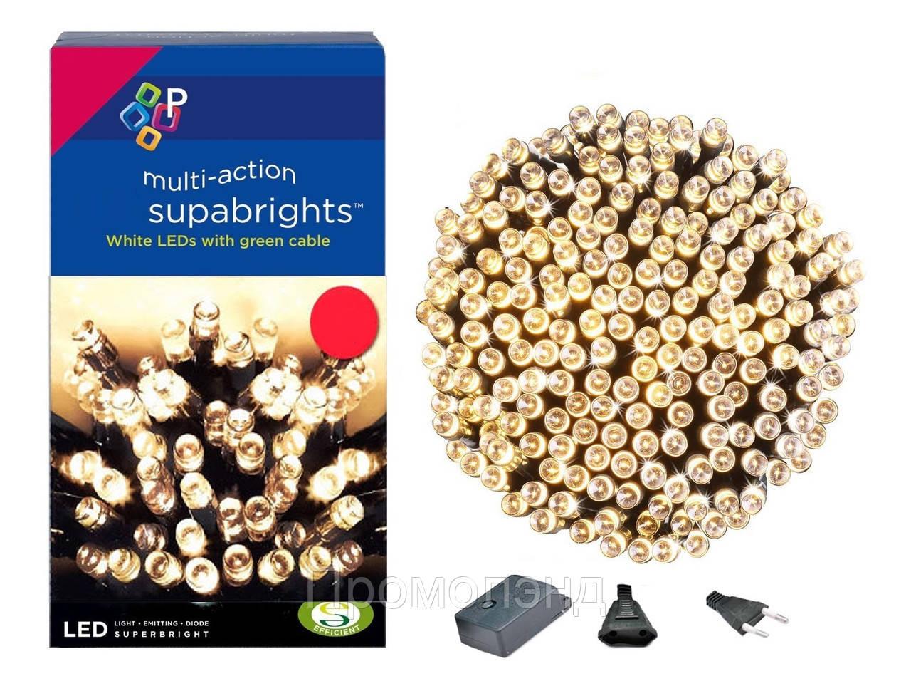 Новорічна гірлянда 300 LED, IP44, Довжина 24 М, Білий теплий світло