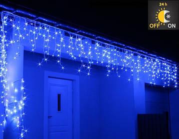 Новорічна гірлянда Бахрома 500 LED, Блакитний світло 22,5 W, 24 м + Нічний датчик, фото 2