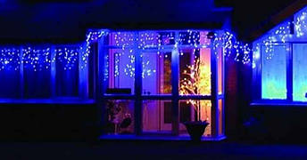Новогодняя гирлянда Бахрома 500 LED, Голубой свет 22,5W, 24 м + Ночной датчик, фото 3